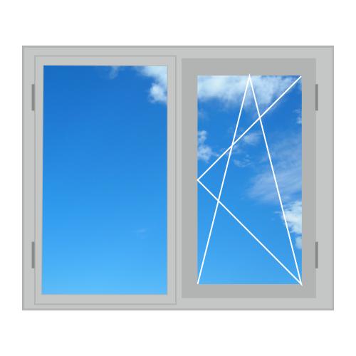 Алюмінієве вікно, двостулкове 1300 x 1400 теплий алюміній , 4-16-4і