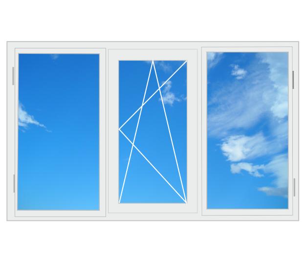 Пластикове вікно, трьохстулкове 2000 x 1400 4-камерний профіль