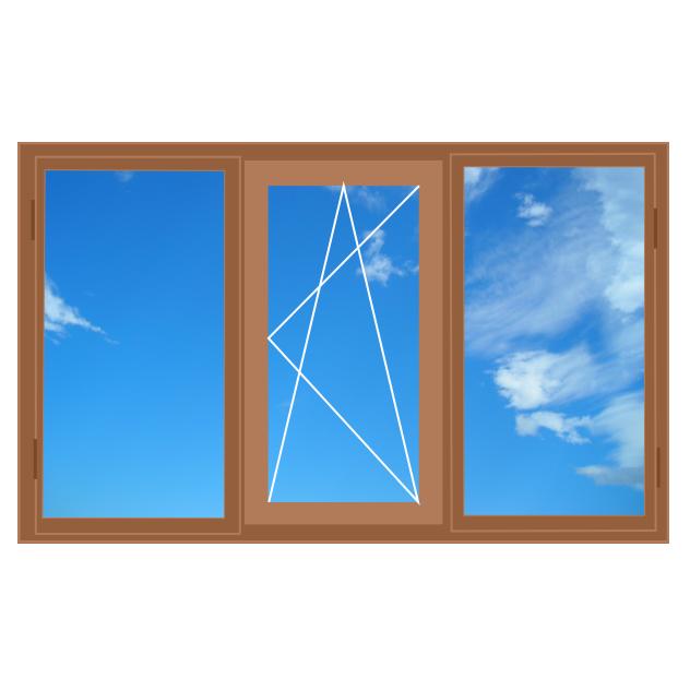 Дерев'яне вікно, трьохстулкове 2100 x 1400 Forest Line, 4-16-4i