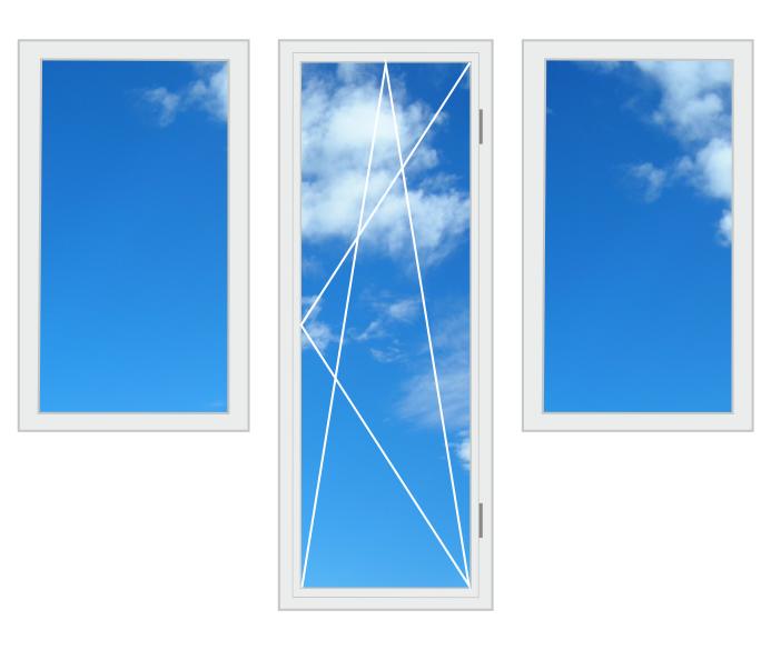 Пластиковий балконний блок, два вікна 2100 x 2100 3-камерний профіль