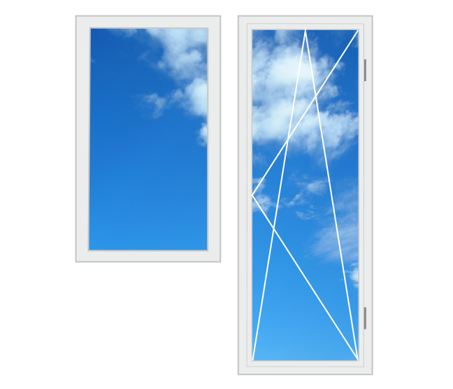 Пластиковий балконний блок 2100 x 2100 6-камерний профіль