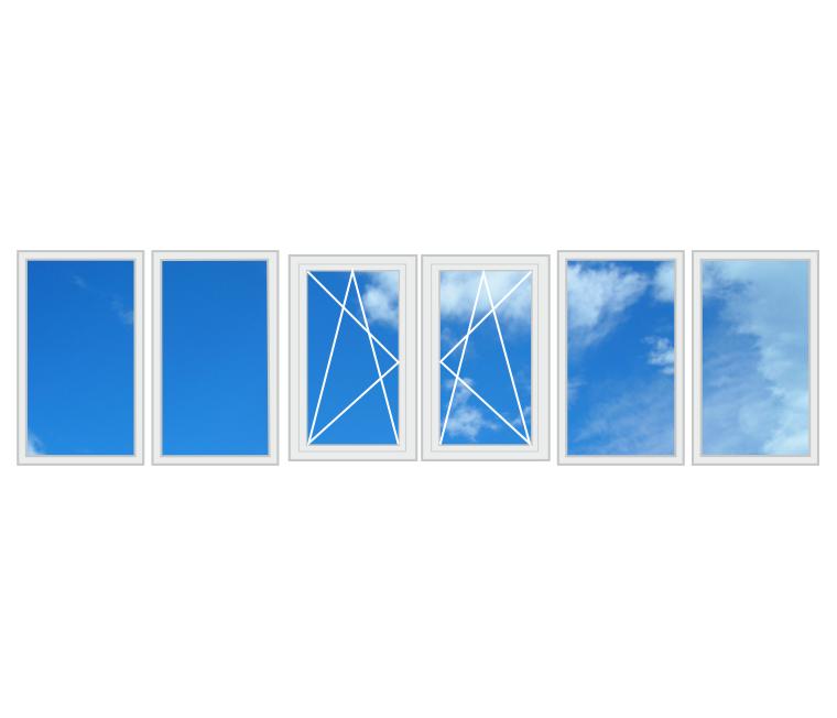 П-подібний балкон, два бічних вікна 3200 x 1400 6-камерний профіль
